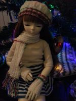 Holiday Beret, Gloves and Scarf set for MSD BJD by Hezaalin