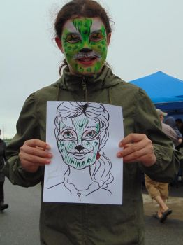Green Face-Paint Girl Caricature by Caricatures-By-Dali