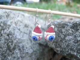 Santa Clause Eyeball Earrings by HumphreysHandmade