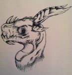 Dragons Head :Pen Sketch: by Mightyana190