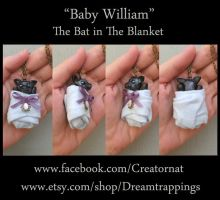 William The Baby Bat in a Blanket Necklace by natamon