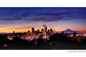 HDR Seattle Skyline At Sunrise by photoboy1002001