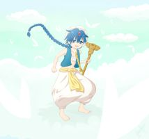 Magi Aladdin and rukh in the sky by Atsuky