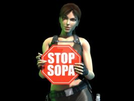 Lara Croft: Stop SOPA by Irishhips