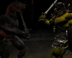 Raptorian vs Orc by Sturmblut