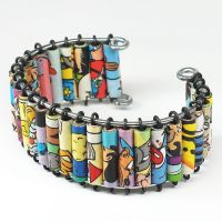 Paper Bead Jewelry- Comic Book Cuff Bracelet by Tanith-Rohe
