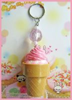 Pink Cream Ice Cream Keychain by cherryboop