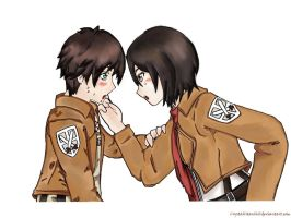 Attack On Titan Eren Jaeger and Mikasa Ackerman 2 by Crystallstar26