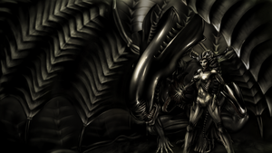 Shyvana, the Half-Dragon - H.R. Giger style by nicolarre