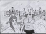 Elsa and the Spartan army by invokerwithmeatball