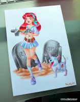 Cheerleader and Zombie dog by HollyBell