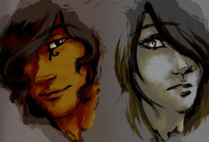 Ba-Pef and Hedda Painting Practice by ArtisteFish