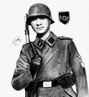 Illustration of Indonesian Volunteer in Waffen SS by DeoKristady
