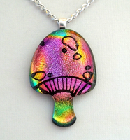 Vibrant Magic Mushroom Pendant by poisons-sanity