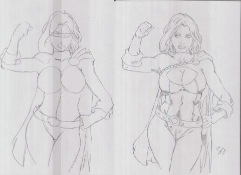 Power Girl Sketch and Final Version by italoabreu