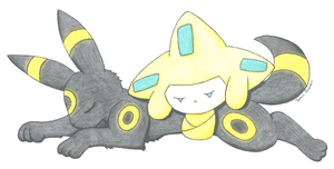 Umbreon and Jirachi Cuddles by LordoftheFuzzys