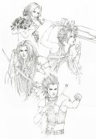 FF VII/Crisis Core Lineart by Murdersushi