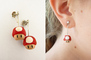 Mario Mushroom Earrings by ville10
