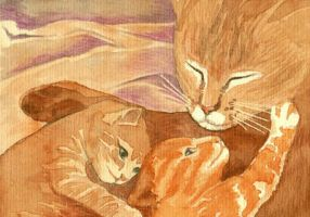 Kittens and mum by monbaum