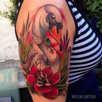 neo traditional swan tattoo by WillemXSM