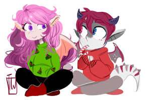 Sweet Couple Chibi Set Comm by temporaryWizard