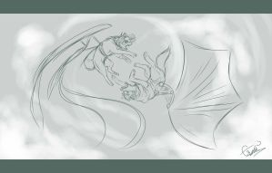I Dare You to Say That to My Face- WIP Sketch! by Espherio
