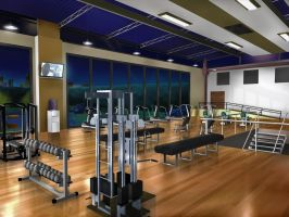 Location Background: Fitness Club by HuniePot
