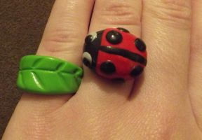 Ladybird and Leaf rings by MeticulousBlue