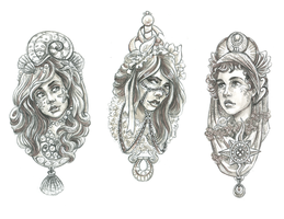 Femenagerie: Pendants II by DoodleLust