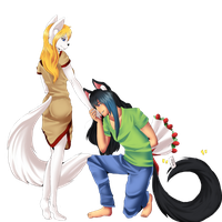 Kuro and Mi'toko by Line-arts by Little-shewolf9