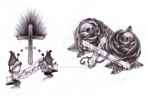 cross and skulls bw by blackmonchichi