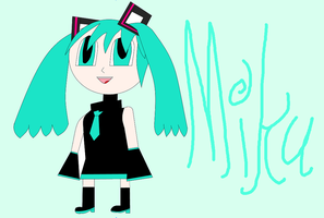 My first try at drawing Miku Hatsune XD by Ginger-Hill