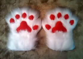 White Paws w/Red Pads Commish by The-Demon-Ferret