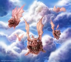 horrible flying pigs by hiraistrange