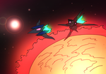 Fox and Wolf above Solar by NickinAmerica
