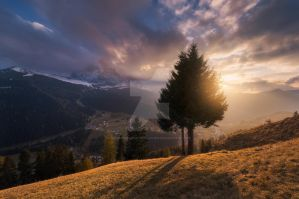 Sunset at the village of Selva di Val Gardena by naumenkophotographer