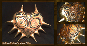 Golden Majora's Mask Pillow by tavington