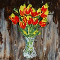 Cadmium Tulips in Vase by davepuls