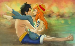 Luffy and Nami by effy7