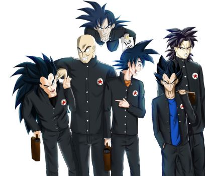 DBZ saiyans going back to school by ivan1426