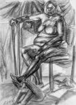 Sketchy Seated Woman by ExiledChaos