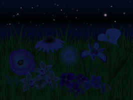 Flowers In the Grass Night by ConfusedLittleKitty