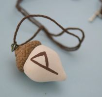 joy wunjo acorn rune necklace by amberhlynn