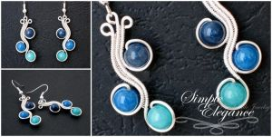 Blue jade earrings by simple-elegance