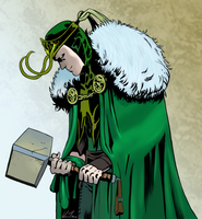 Loki and Mjolnir by HarvesterOfDreams