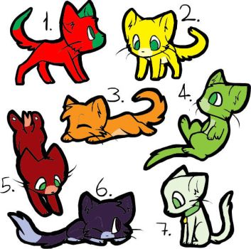 Fruit Colored Kitty Adoptables 1pt(Closed) by katamariluv
