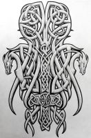 Celtic dragons and cross by Tattoo-Design