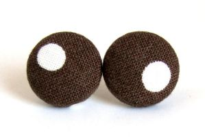 Brown button studs earrings fall autumn white dot by KooKooCraft