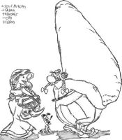 Obelix and Panacea sketch by Mallagueta-Pepper