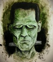 Frankenstein water color by RushLightInvader